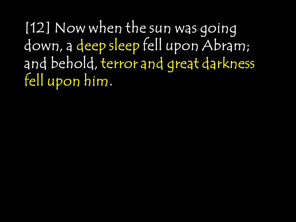 [12] Now when the sun was going down, a deep sleep fell upon Abram; and behold, terror and great darkness fell upon him.